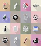Ilustração lisa do vetor dos ícones do equipamento do carro Foto de Stock