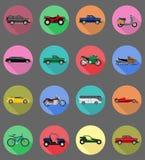 Ilustração lisa do vetor dos ícones do transporte Fotos de Stock Royalty Free