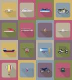 Ilustração lisa do vetor dos ícones do transporte Fotografia de Stock Royalty Free