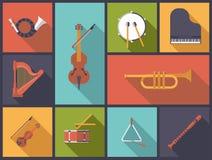 Ilustração lisa do vetor dos ícones dos instrumentos da música clássica Foto de Stock Royalty Free