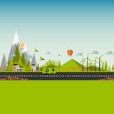 Ilustração lisa EPS 10 da cidade do verde de Eco Foto de Stock