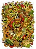 Ilustração mexicana do alimento das garatujas bonitos dos desenhos animados Imagem de Stock Royalty Free