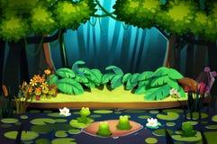 Ilustração: A noite vem na floresta Fotografia de Stock