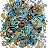 Ilustração náutica tirada das garatujas dos desenhos animados mão bonito Foto de Stock Royalty Free