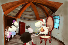 Ilustração para crianças: O príncipe dos carneiros está propondo a união aos carneiros Cinderella Fotos de Stock Royalty Free