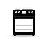 Ilustração preta do vetor do ícone do fogão Fotos de Stock