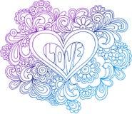 Ilustração psicadélico do vetor do esboço do coração Imagens de Stock Royalty Free