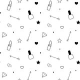 Ilustração sem emenda branca preta do fundo do teste padrão com batom, verniz para as unhas, bordos, diamante, seta, estrela e co Imagens de Stock Royalty Free