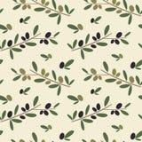 Ilustração sem emenda do fundo do teste padrão do ramo de oliveira preto e verde Fotos de Stock