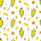 Ilustração sem emenda do vetor do teste padrão do milho Orelha ou espiga do milho Fotos de Stock Royalty Free