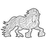 Ilustração tirada do vetor mão monocromática do cavalo Imagens de Stock Royalty Free