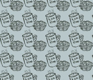 Ilustração tirada mão do café da manhã Vector o teste padrão sem emenda Imagens de Stock Royalty Free