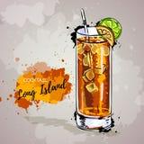 Ilustração tirada mão do Long Island do cocktail Foto de Stock