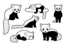 Ilustração vermelha de Panda Poses Monochrome Cartoon Vetora Imagens de Stock