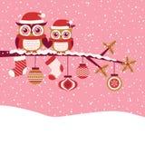 Ilustração vermelha do Natal dos desenhos animados das corujas Fotografia de Stock Royalty Free