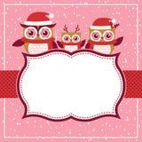 Ilustração vermelha do Natal dos desenhos animados das corujas Fotografia de Stock