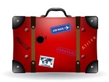 Ilustração vermelha velha da mala de viagem do curso Fotografia de Stock