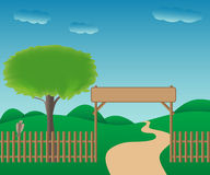 Ilustrated gateway to the countryside. Vector eps 10 Stock Images
