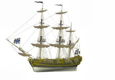 Ilustration σκάφος πειρατών που απομονώνεται παλαιό στο λευκό Στοκ Εικόνες