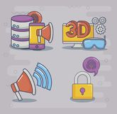 Ilustration вектора значка дизайна технологии и нововведения Стоковые Фотографии RF