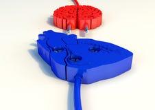 Ilustration штепсельной вилки мозга и сердца Иллюстрация штока