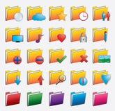 Fastställda mapprengöringsduksymboler Arkivfoton