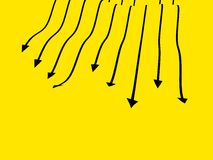 Ilustration black arrow speed. Illusion black arrows on a yellow background with different speed 3d rendering Stock Images