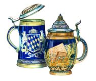 Ilustration collection of two traditional decorated bavarian beer ceramic cups with caps. Hand drawn watercolor set of two bavarian beer ceramic mugs with caps Stock Photos