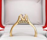 ilustration 3d dell'anello di fidanzamento dell'oro Fotografia Stock
