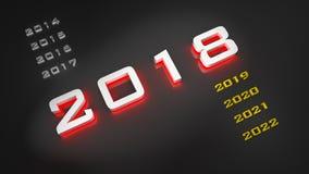 Ilustration 2018 dans 3D, 2018 illustration stock