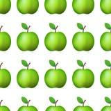 Ilustration del vector Manzana verde realista del modelo inconsútil en la decoración blanca del fondo stock de ilustración