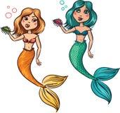 Ilustration des netten Mädchens der Nixe zwei unter dem Meer Lizenzfreie Stockbilder