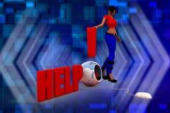 ilustration di aiuto della donna 3D Fotografia Stock