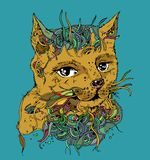 Ilustration do vetor do esboço do gato da garatuja Foto de Stock Royalty Free