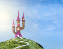 Ilustration of a fairytale castle. Ilustration of a brick and pink fairytale castle on a hill and a bright blue sky Royalty Free Stock Photo