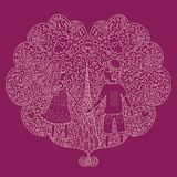 Ilustration of a valentines couple, Valentine card Royalty Free Stock Photo