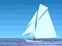 Ilustration van beeldverhaal varend jacht in blauwe toon. Stock Foto