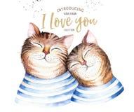 Ilustration van de waterverf leuke geïsoleerde kat De kattenkarakter van het liefdebeeldverhaal voor valentijnskaart` s kaart Het stock illustratie