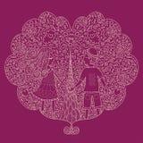 Ilustration van een valentijnskaartenpaar, Valentine-kaart royalty-vrije illustratie