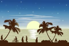 Ilustration van het zonsondergangstrand Royalty-vrije Stock Foto