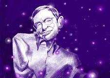 Ilustration van Stephen William Hawking portraite Sterrige hemel Royalty-vrije Stock Foto's