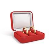 Ilustration of wedding bands,. 3d ilustration of wedding bands, wedding rings in the red box, wedding jewelry, wedding preparation, wedding rings box  on white Stock Photos
