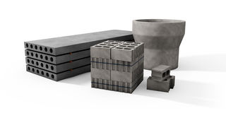 Ilustrator barłogi betonowi bloki i talerze na whi Obrazy Royalty Free