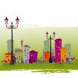 ilustrujący abstrakcjonistyczny miasto ilustracja wektor