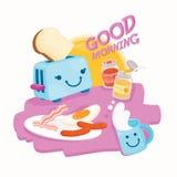 Ilustruje Śliczny śniadanie Obraz Stock