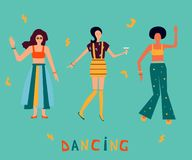 Iluustration with dancing women in bright clothes. Girl power background. vector illustration