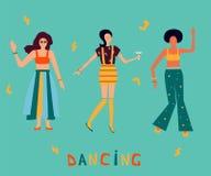 Iluustration med danskvinnor i ljus kläder Flickamaktbakgrund vektor illustrationer