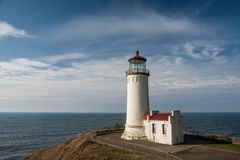 North Head Lighthouse. Ilwaco, WA, USA Oct 14, 2011: The North Head Lighthouse first went into service in 1898 and is still in use, stands on a bluff at Cape Stock Image