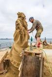 Ilya Filimontsev. World Class Sand Sculpter Ilya Filimontsev Sculpting Nostalgia In San Diego, California, 2016 Royalty Free Stock Photos
