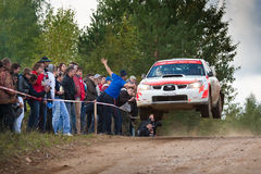 Ilya Hohlov drives a Subaru Impreza Royalty Free Stock Photo